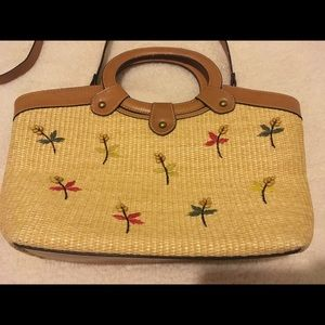 Fossil straw purse with flower design